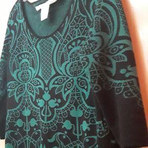 Green Black Boho Geometric Tribal Sweater Dress